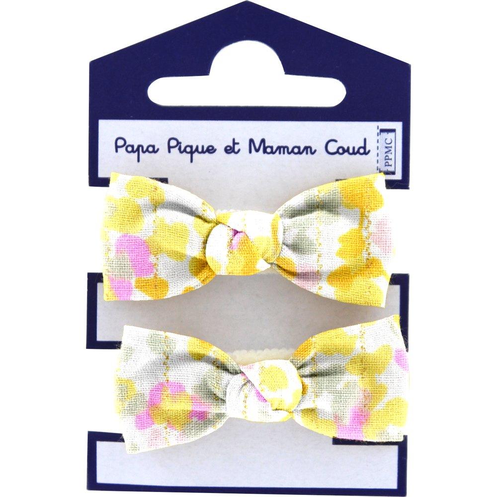 Small elastic bows mimosa jaune rose
