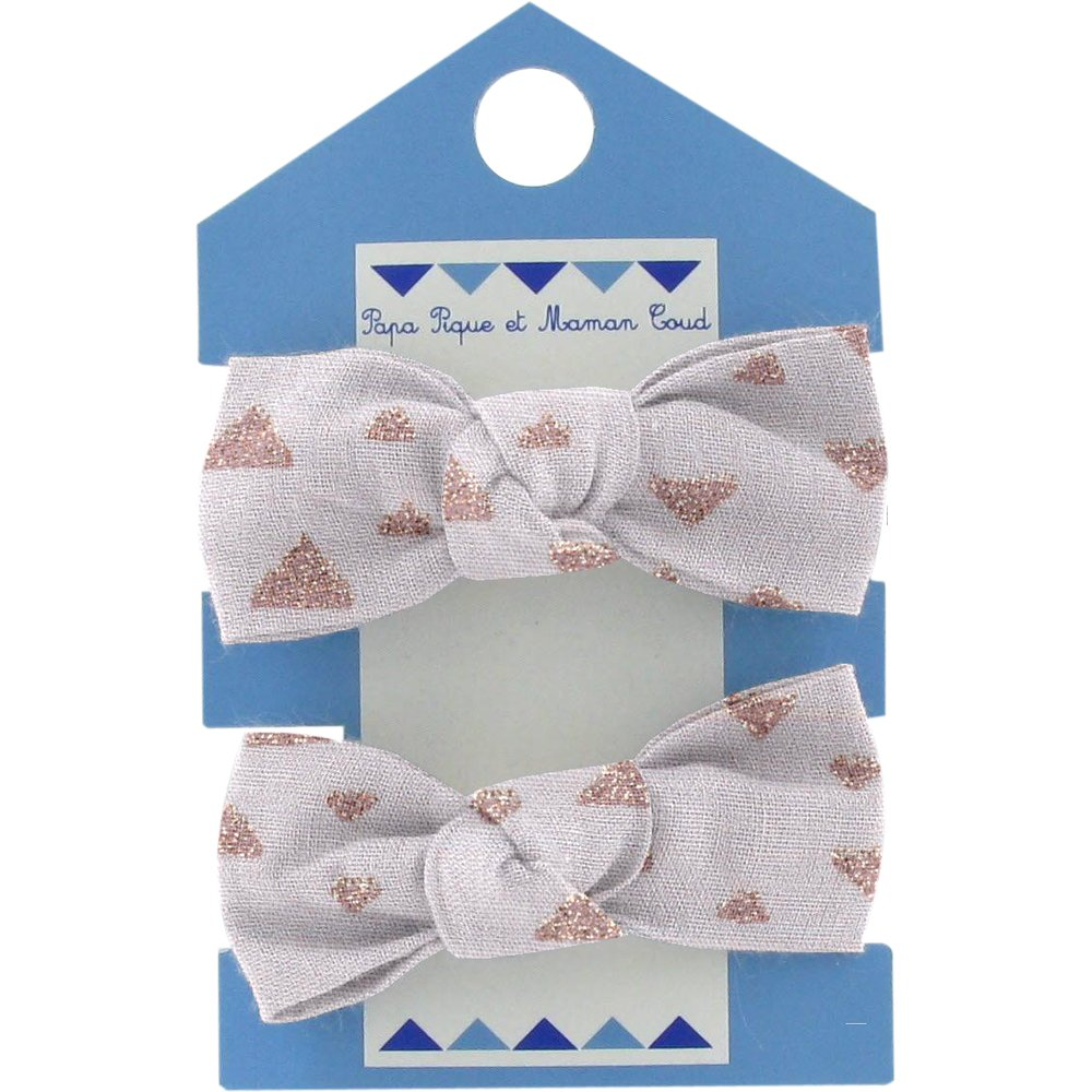 Small elastic bows triangle cuivré gris