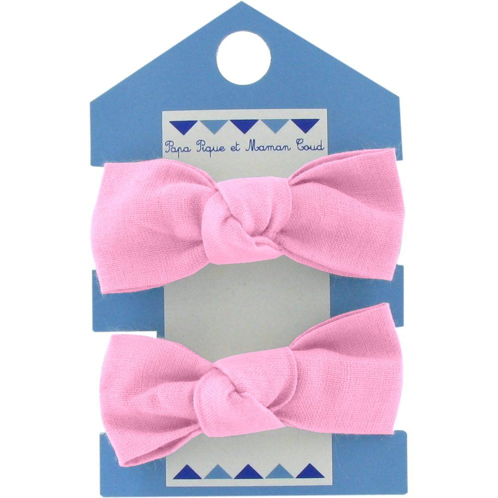 Small elastic bows pink - light cotton canvas