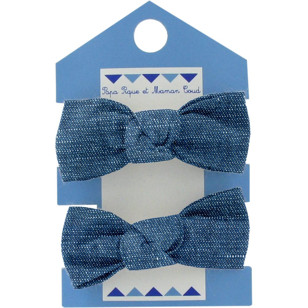 Small elastic bows light denim