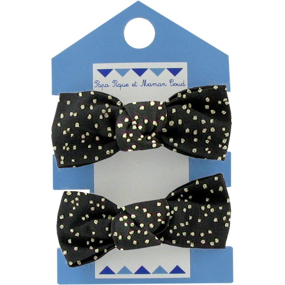 Small elastic bows noir pailleté