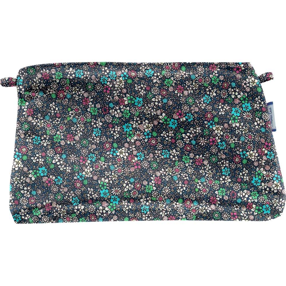 Pochette coton milli fleurs vert azur
