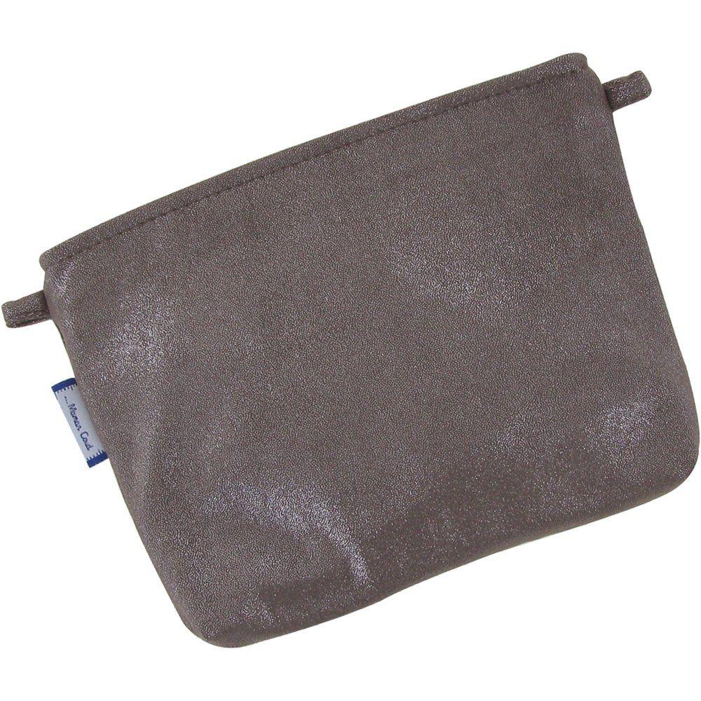 Mini pochette coton suédine taupe