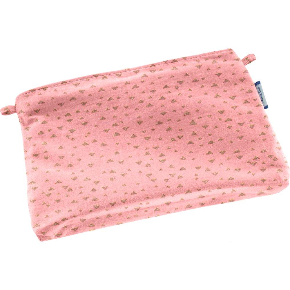 Mini pochette tissu triangle or poudré