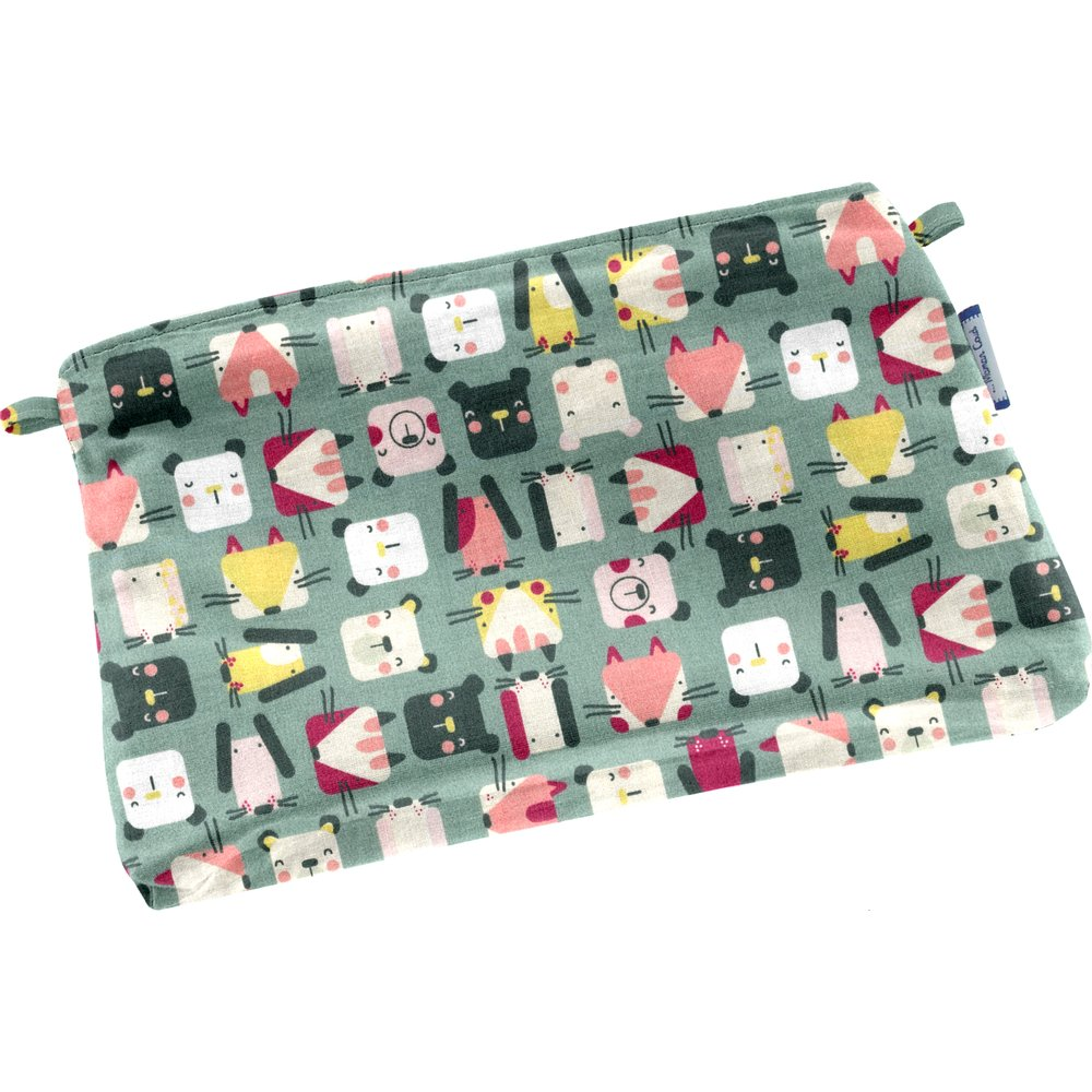 Tiny coton clutch bag animals cube