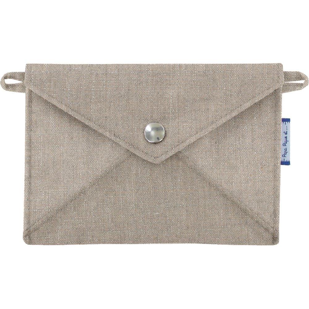 Petite pochette enveloppe lin argenté