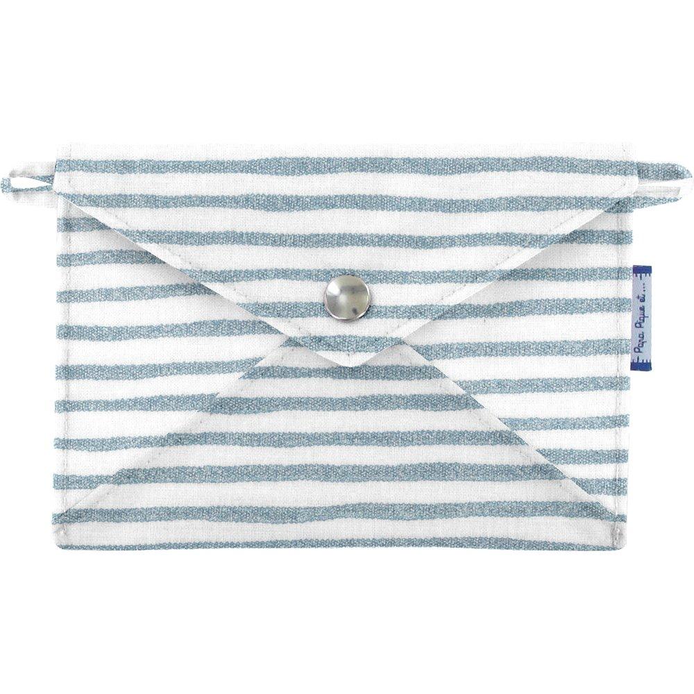 Little envelope clutch striped blue gray glitter