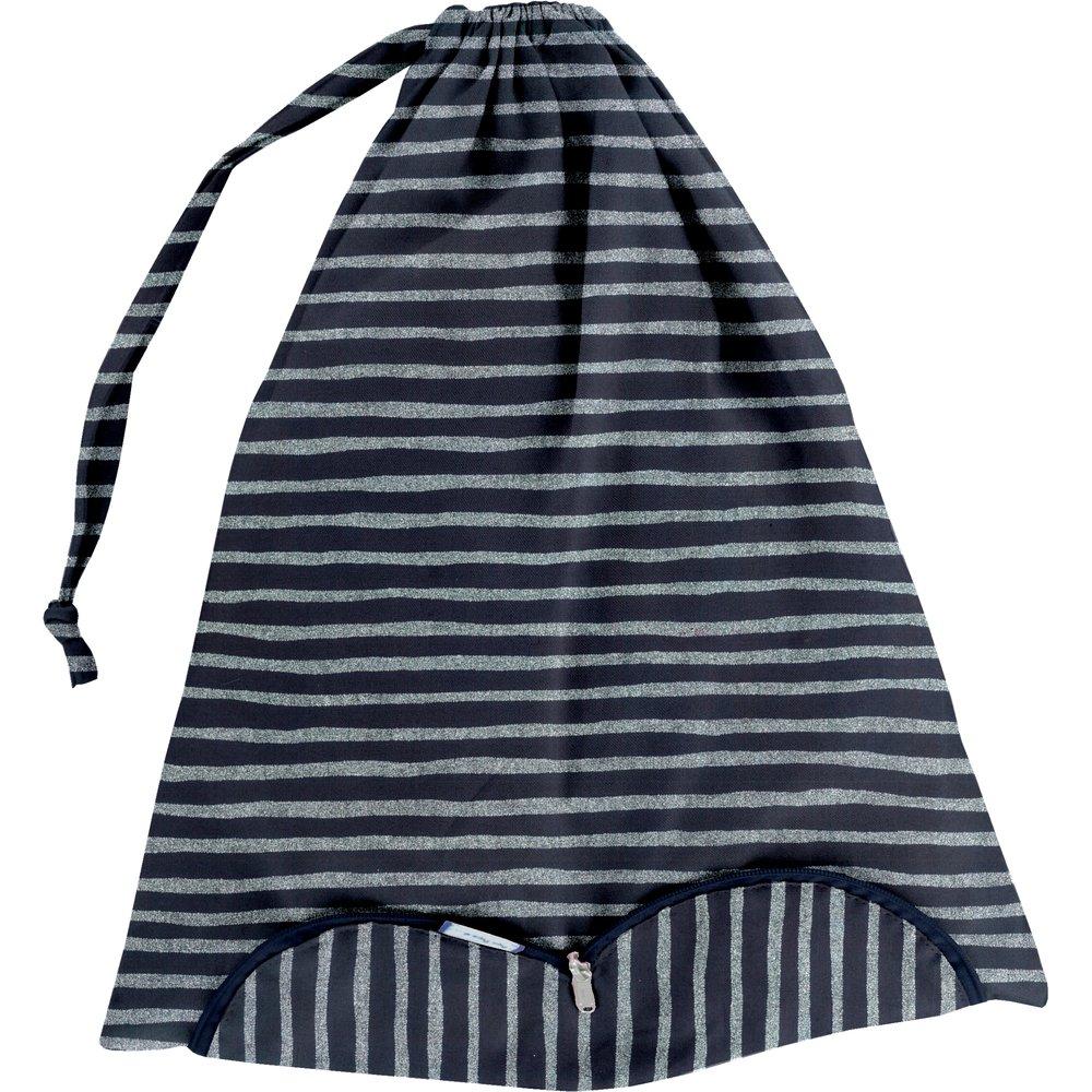 Lingerie bag striped silver dark blue
