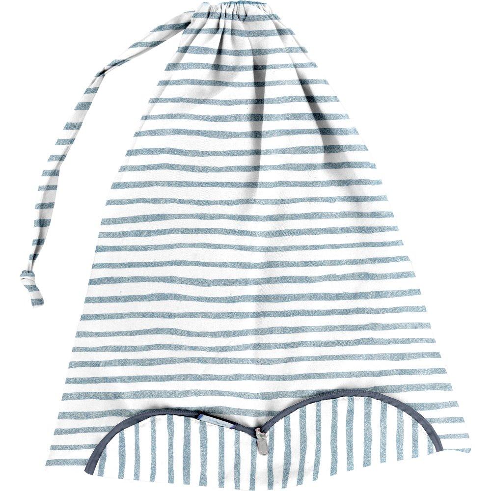 Lingerie bag striped blue gray glitter
