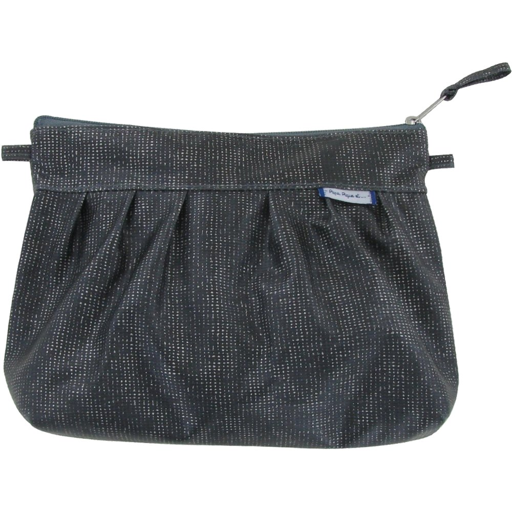 Pleated clutch bag silver gray