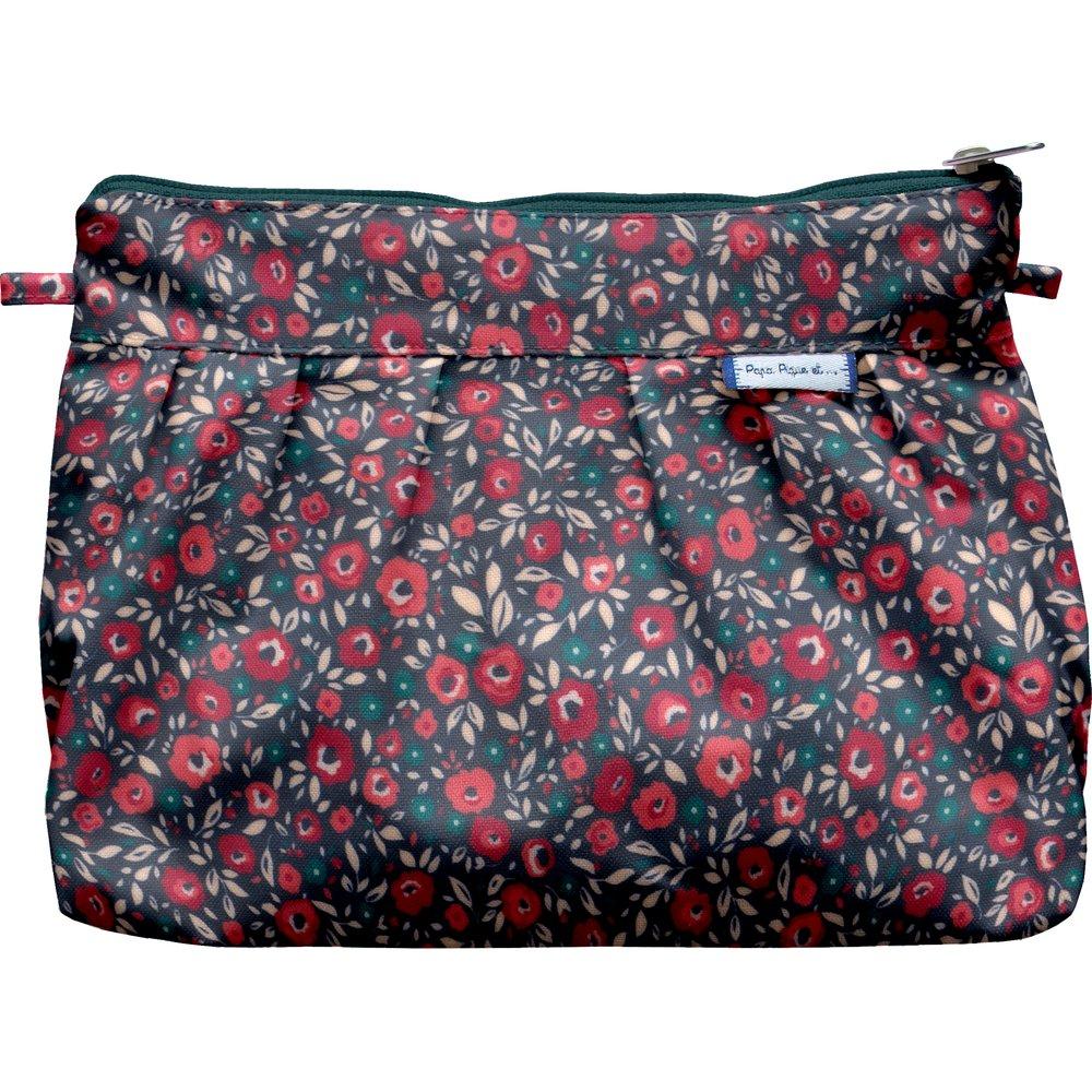 Pochette plissée camelias rubis