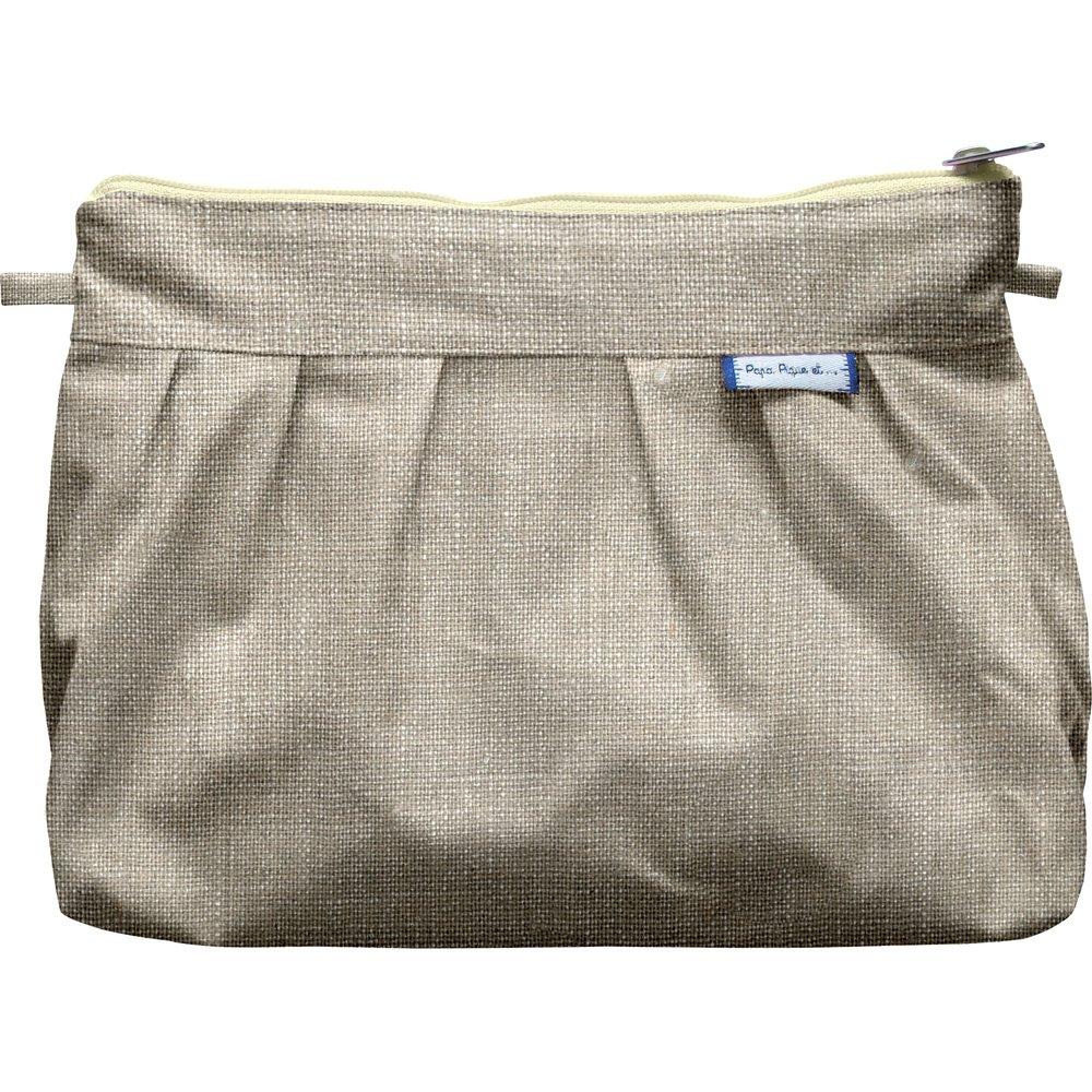 Pochette plissée lin argenté