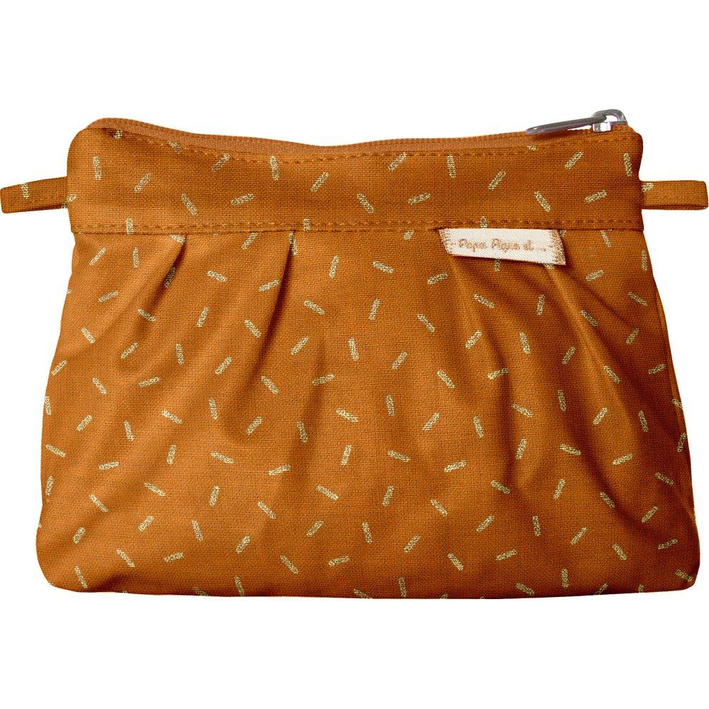 Mini Pleated clutch bag caramel golden straw