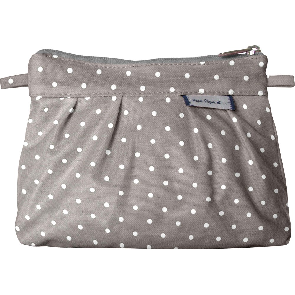 Mini Pleated clutch bag light grey spots