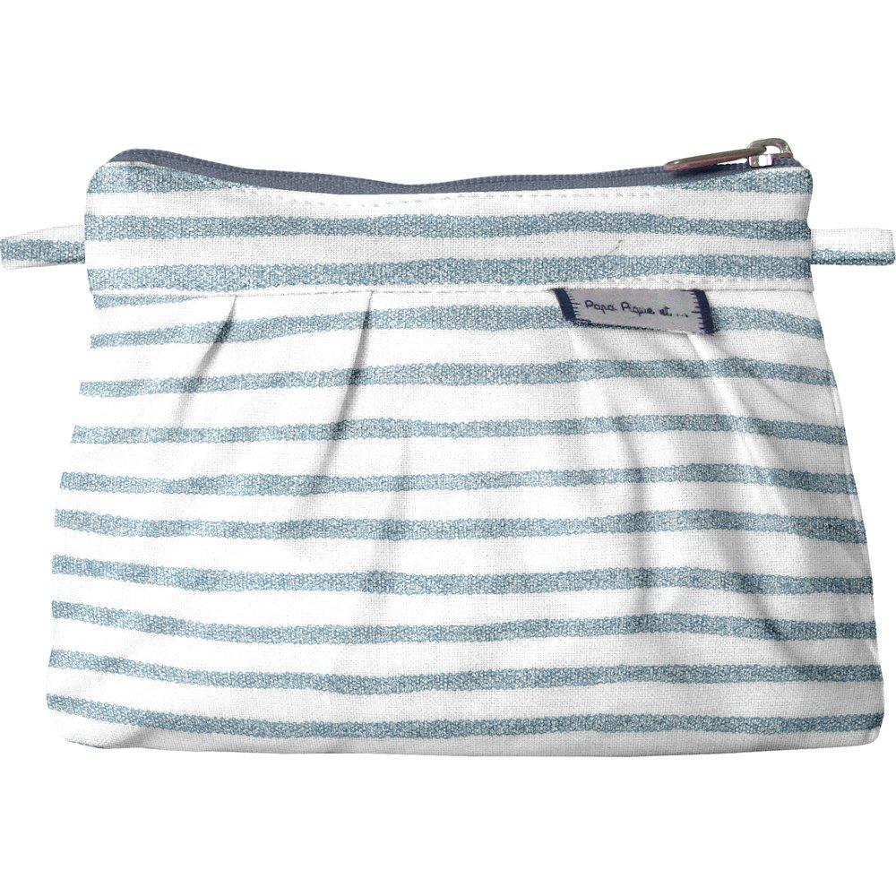 Mini pochette plissée rayé bleu blanc