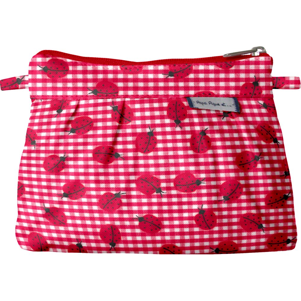 Mini Pleated clutch bag ladybird gingham