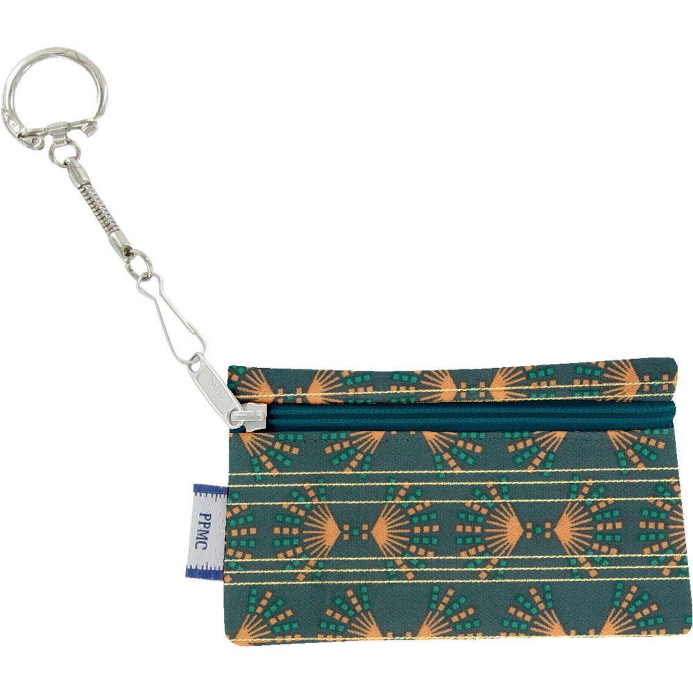 Pochette porte-clés eventail or vert