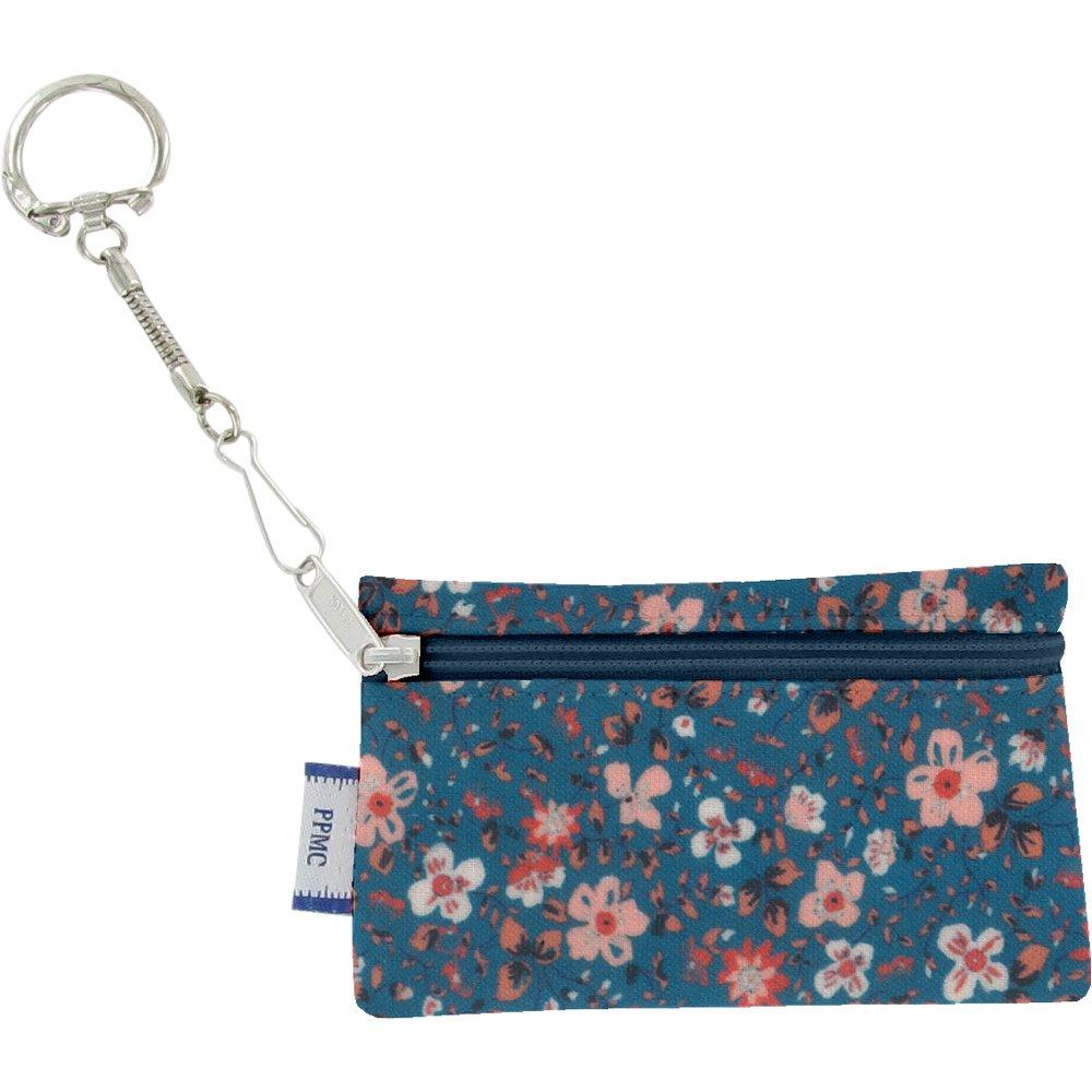 Pochette porte-clés fleuri nude ardoise
