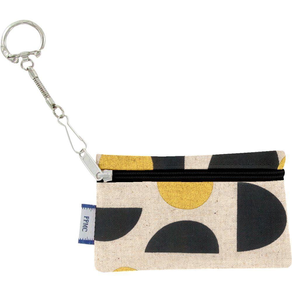 Pochette porte-clés lune d'or