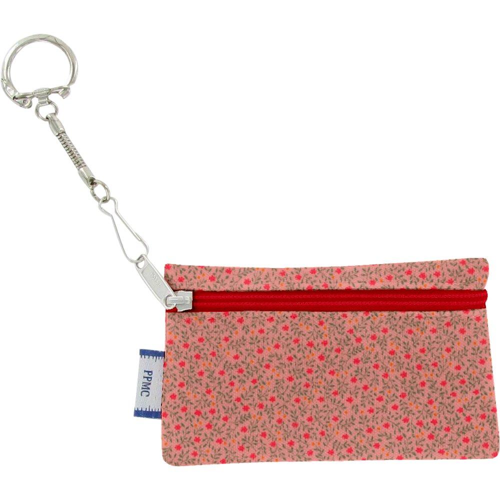 Keyring  wallet mini pink flower