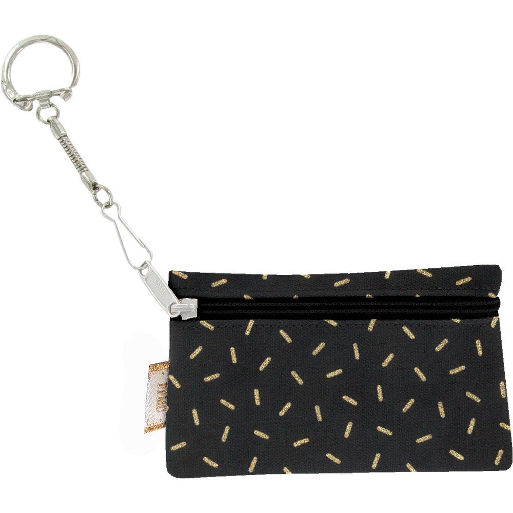 Pochette porte-clés  paille dorée noir