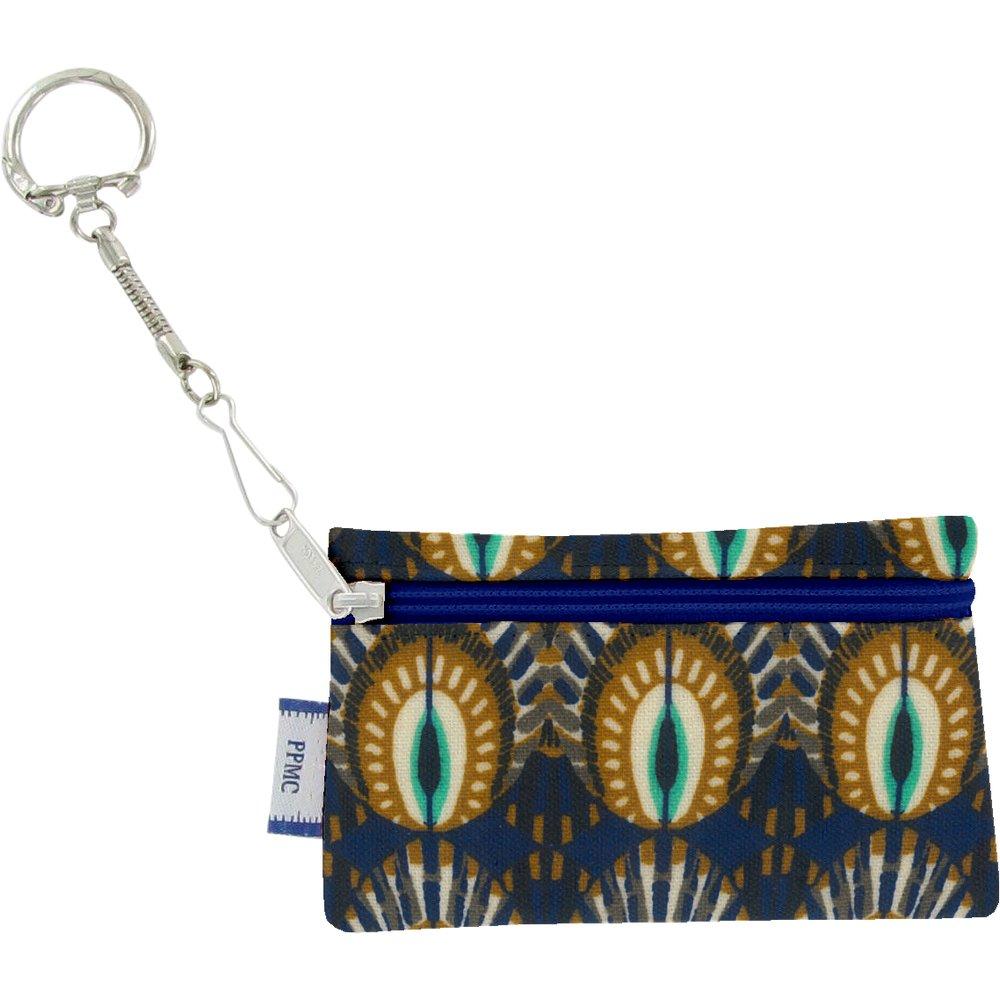 Pochette porte-clés plumes de paon