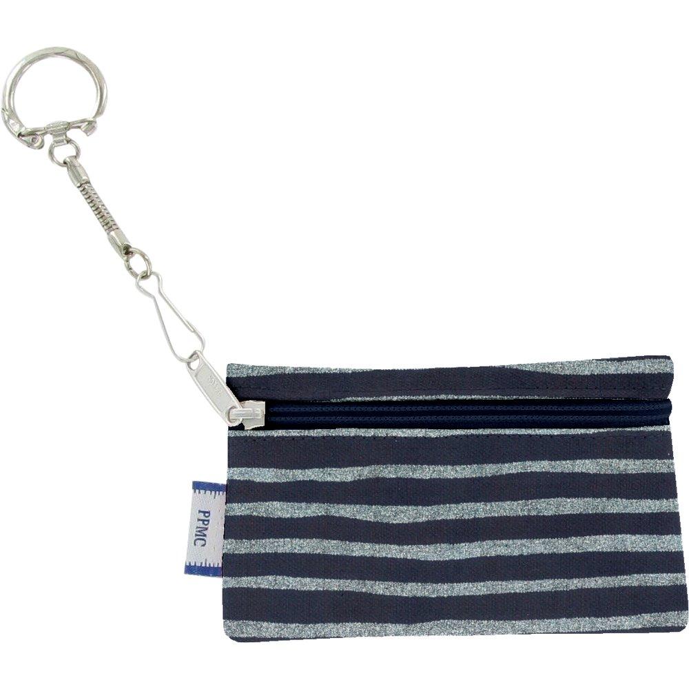 Keyring  wallet striped silver dark blue