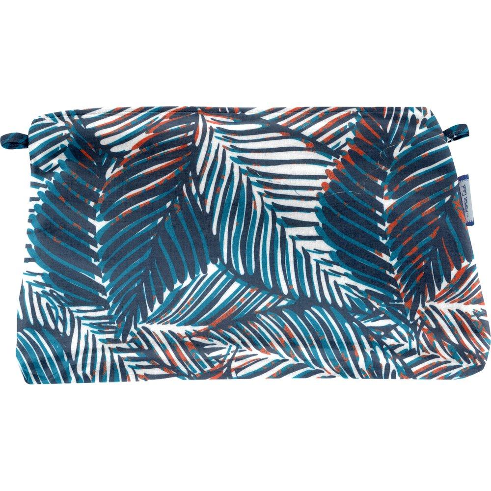 Pochette tissu feuillage marine