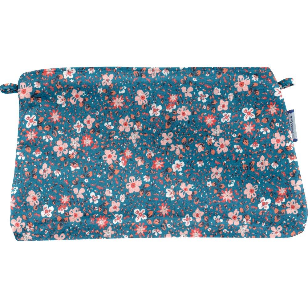 Coton clutch bag fleuri nude ardoise