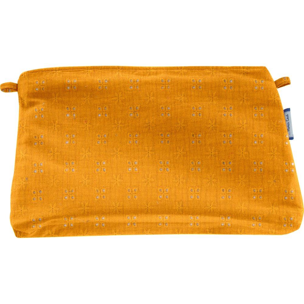 Coton clutch bag gaze dentelle ocre