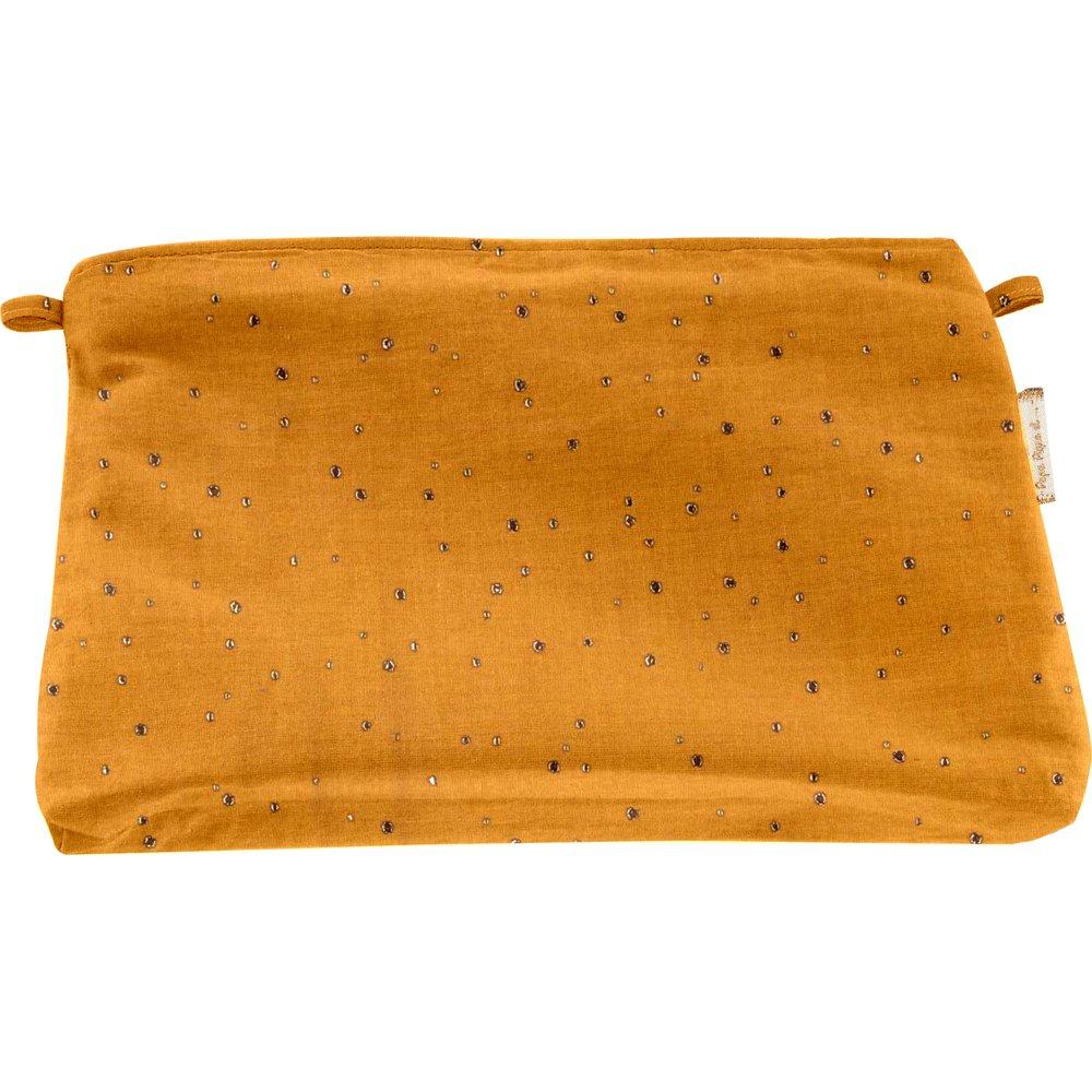 Pochette tissu gaze jaune or