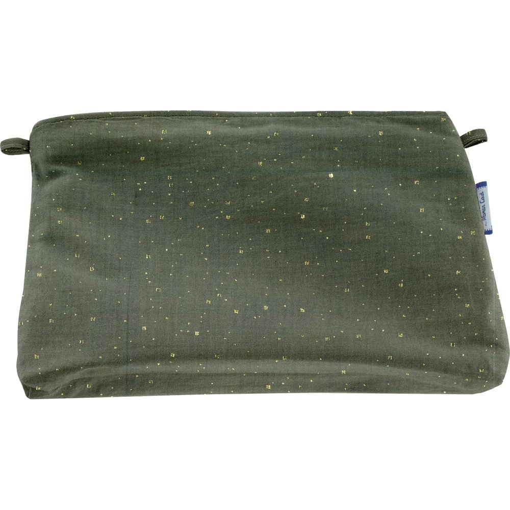 Coton clutch bag gaze pois or kaki