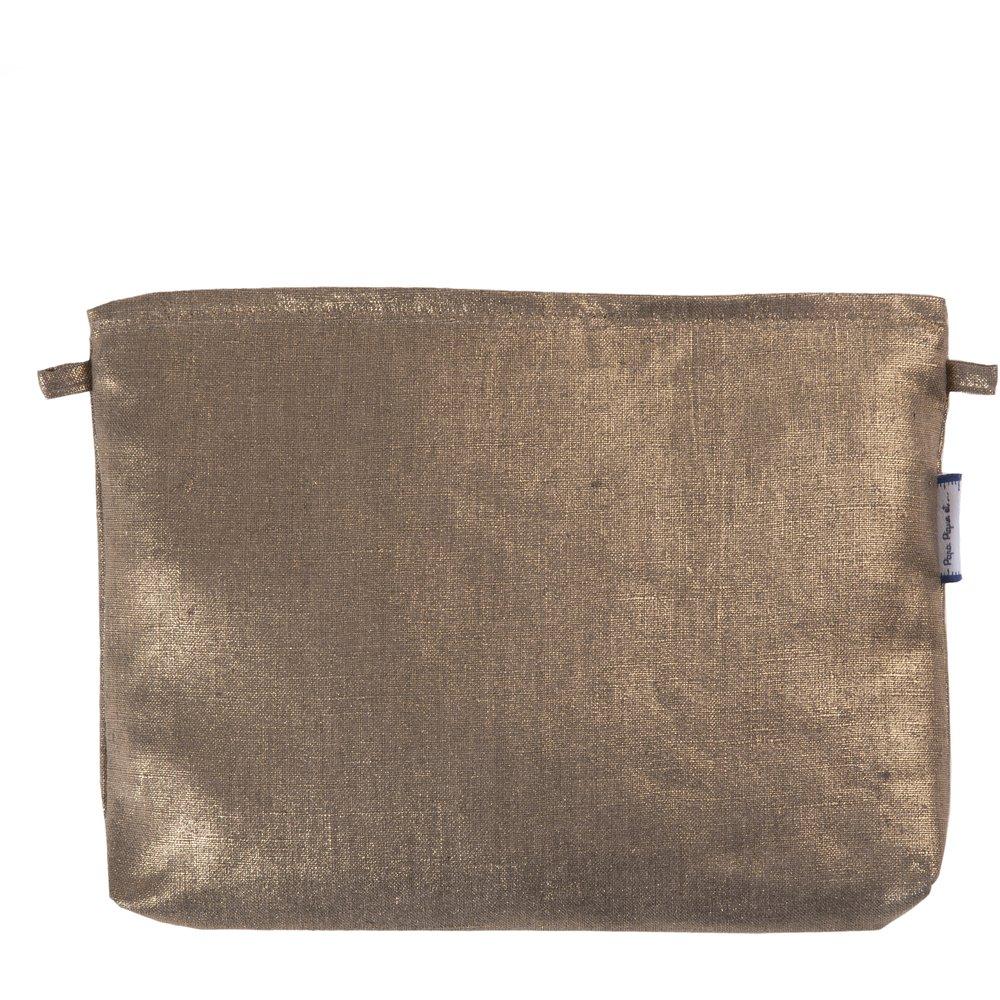 Pochette tissu lin or
