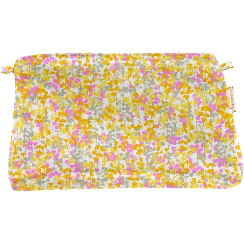 Pochette tissu mimosa jaune rose