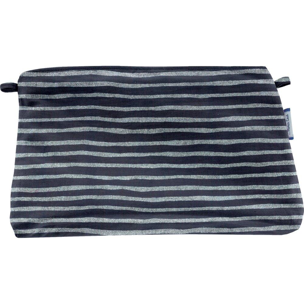 Coton clutch bag striped silver dark blue