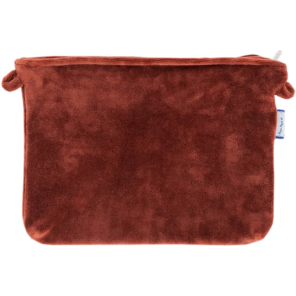 Pochette tissu velours terracotta