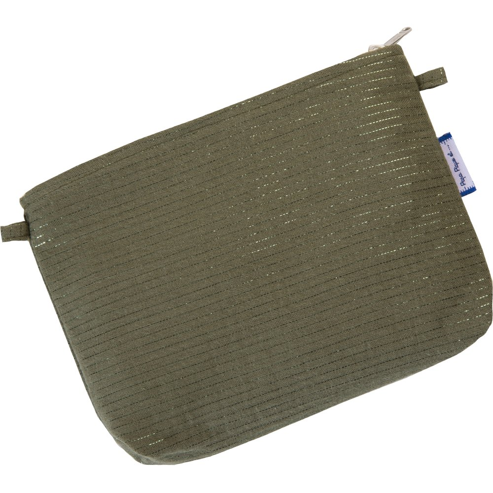 Tiny coton clutch bag khaki lurex gauze