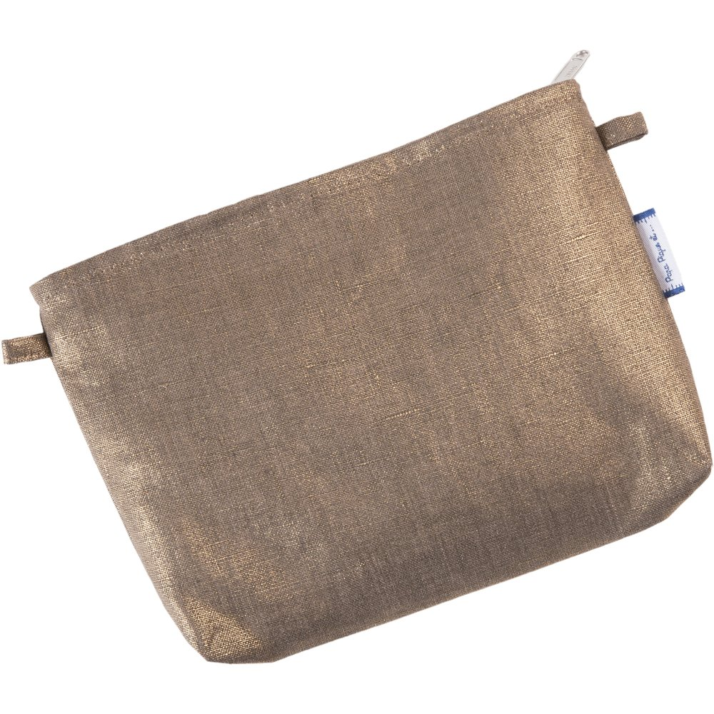 Mini pochette tissu lin or