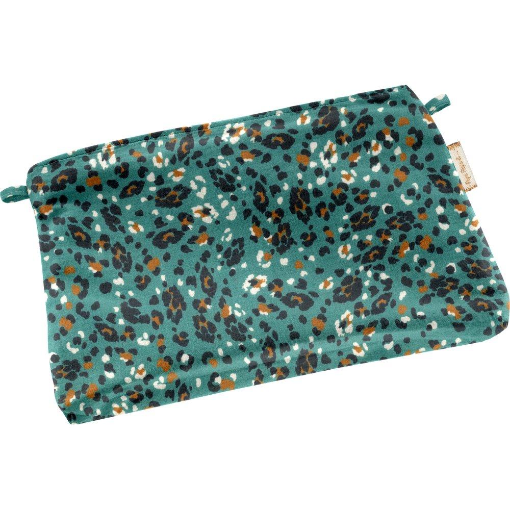 Mini pochette tissu panthère jade