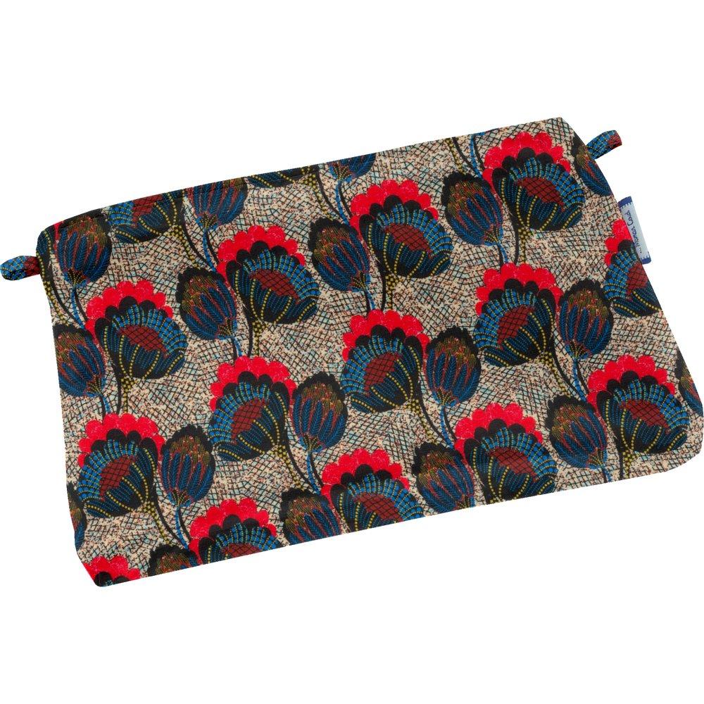 Mini pochette tissu pavot royal