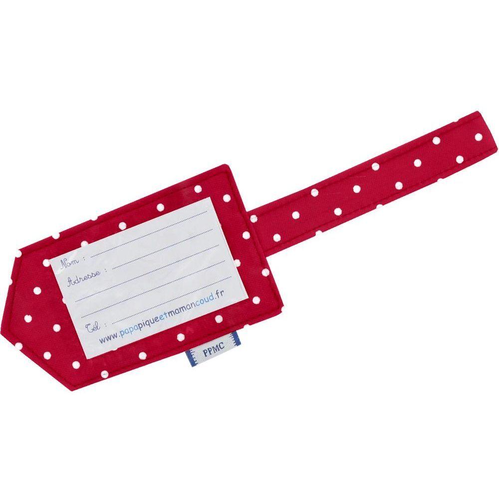 Etiquette bagage pois rouge ppmc for 1 porte etiquette de voyage