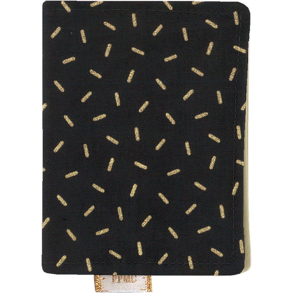 Porte carte  paille dorée noir