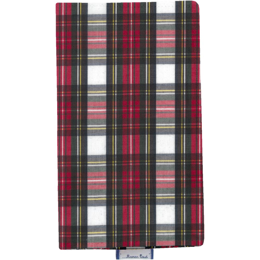 Chequebook cover red and white tartan