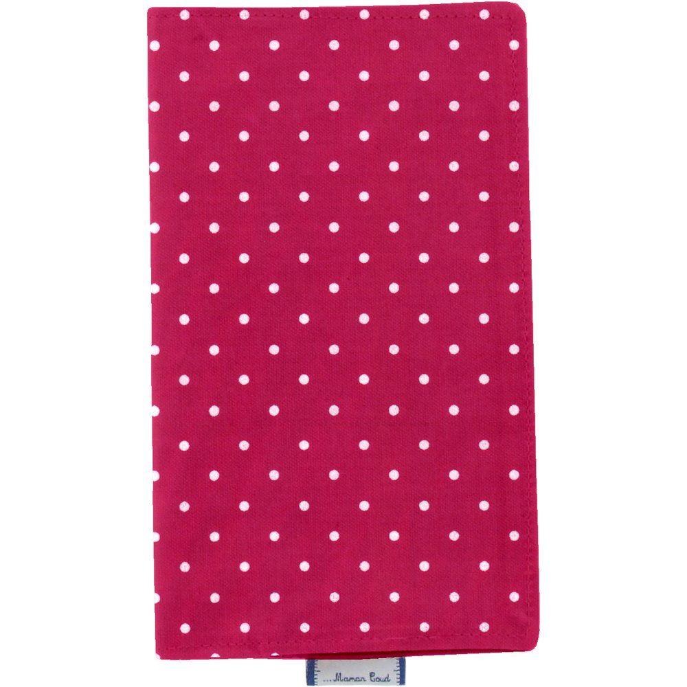 Chequebook cover fuschia spots