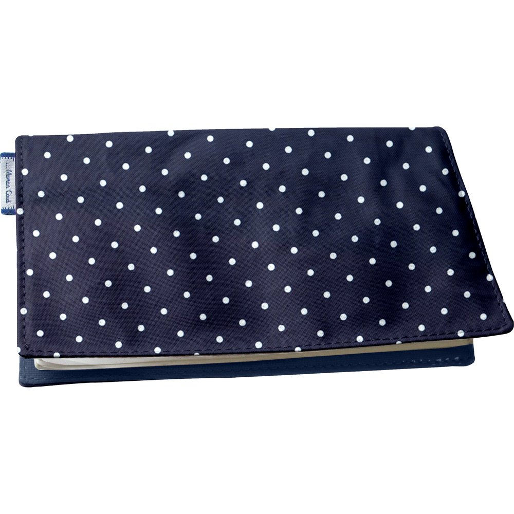 Chequebook cover navy blue spots