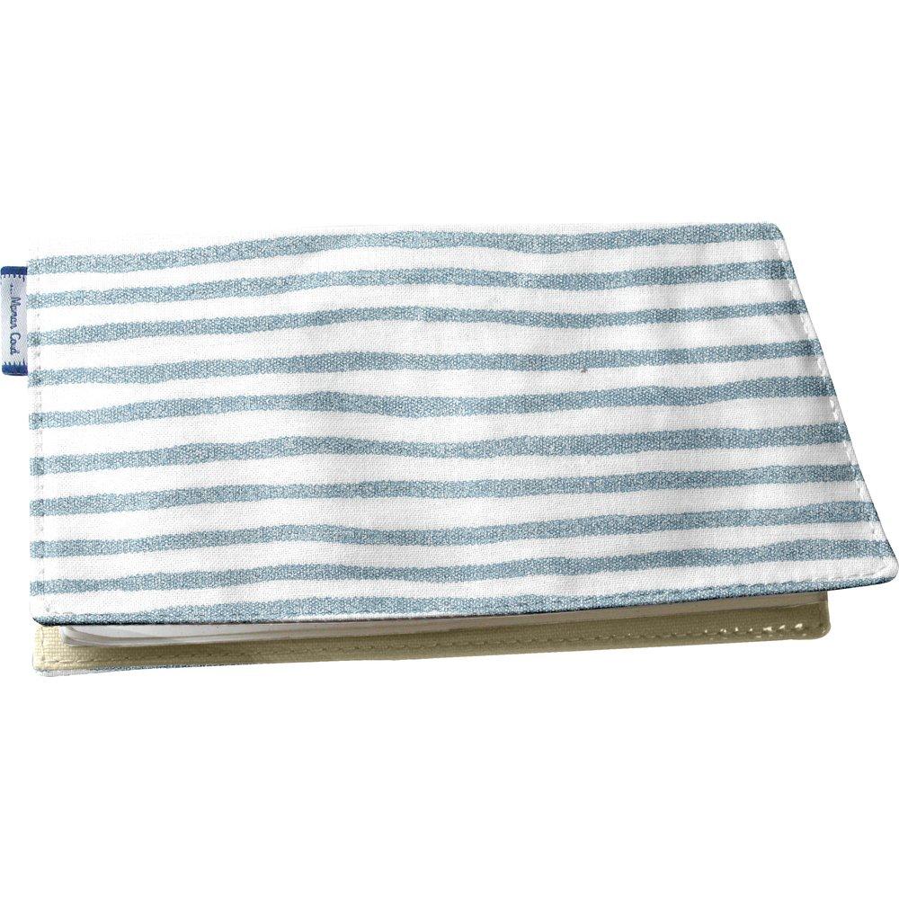 Chequebook cover striped blue gray glitter