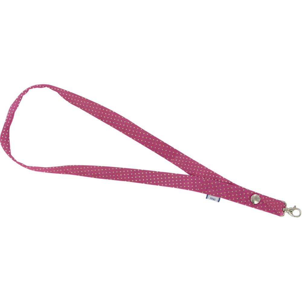 Porte-clés collier etoile or fuchsia