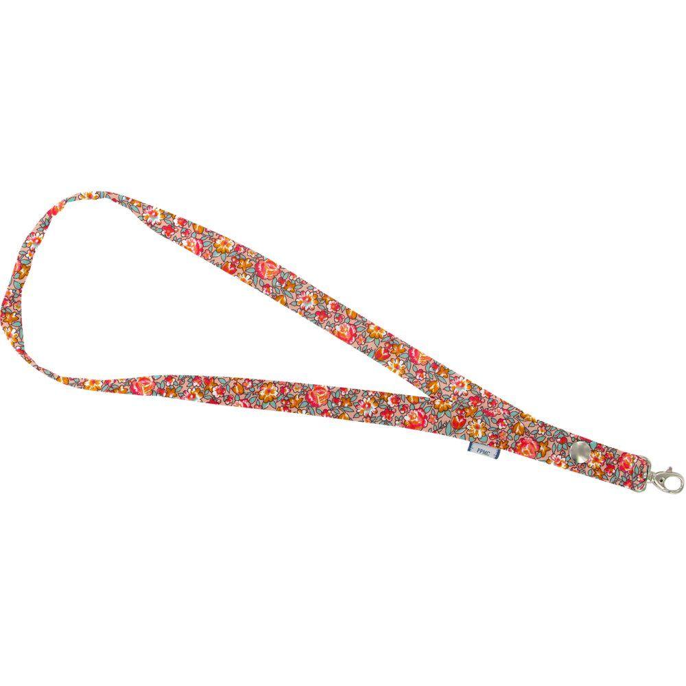 Porte-clés collier floral pêche