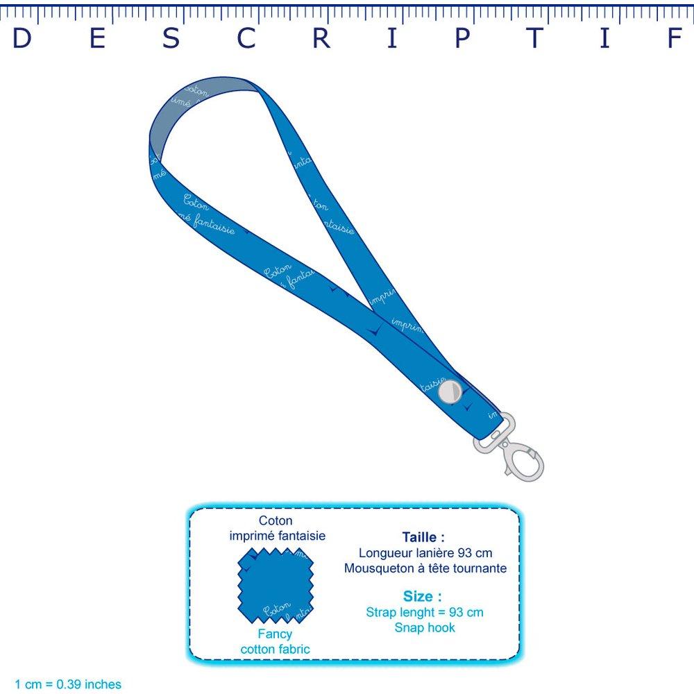 Porte-clés collier rayé bleu blanc