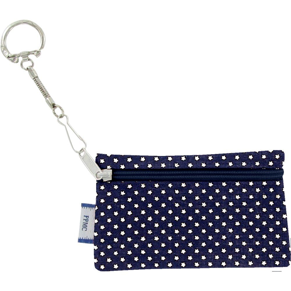 Pochette porte-clés etoile or marine